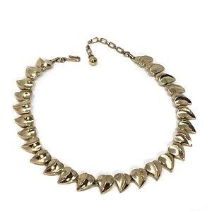 Vintage Trifari Gold-Tone Wavy Heart Link Necklace